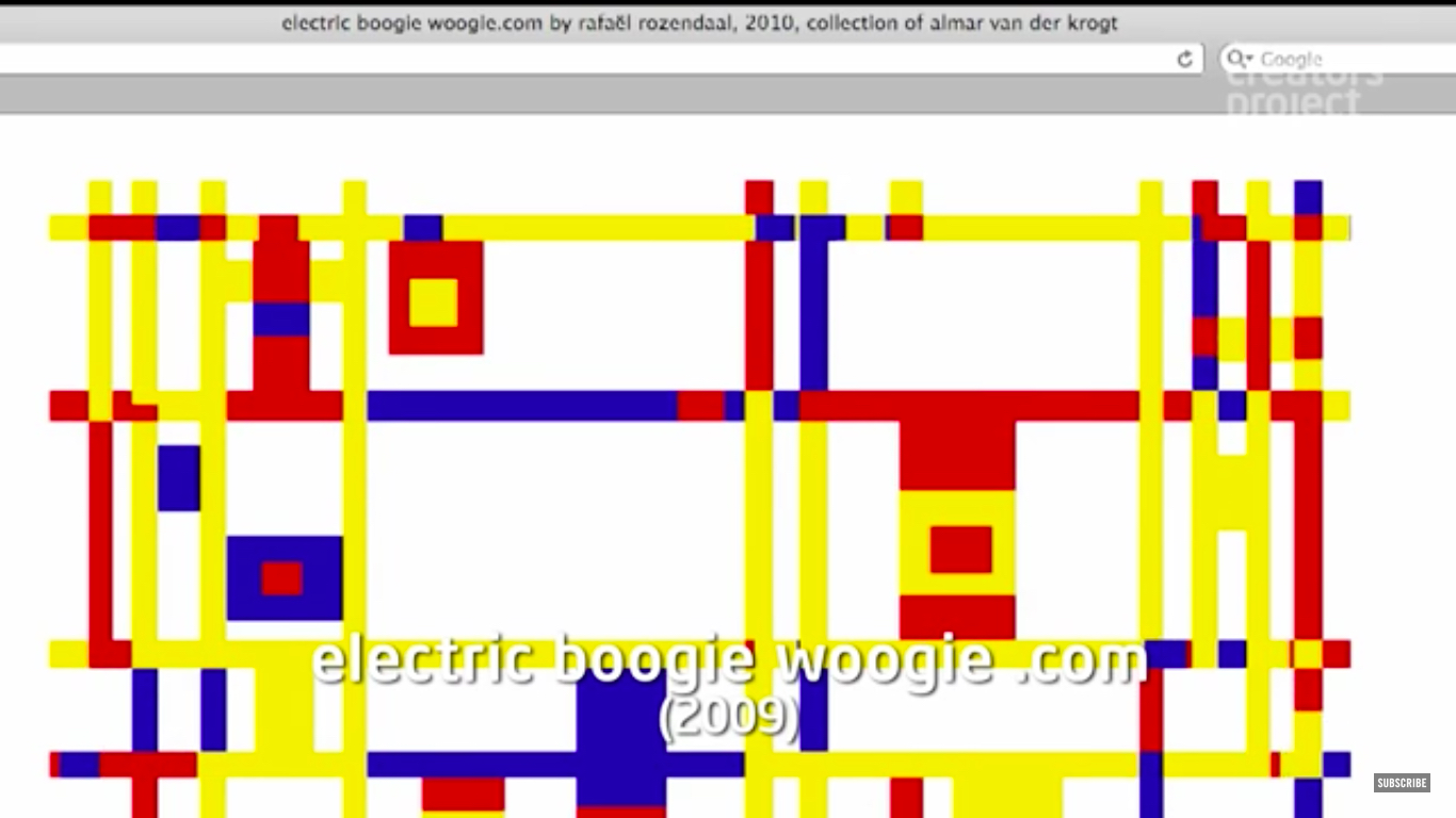 Rafael Rozendaal, Electric Boogie Woogie .com, 2009. Screenshot from YouTube.